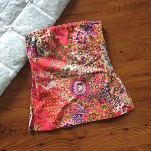 J. Crew Spring Paisley Strapless Cotton Top Size 4